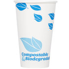 EcoChoice 16 oz. White Compostable and Biodegradable Paper Hot Cup with Leaf Design - 50/Pack