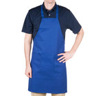Choice Royal Blue Full Length Bib Apron with Pockets - 30
