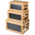 Tablecraft RCBCRATE1 3-Piece Natural Wood Chalkboard Crate Riser Set
