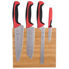 Mercer M21981RD Millennia 5-Piece Bamboo Magnetic Board and Red Handle Knife Set