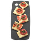 Cal-Mil 1531-612-13 Black Wooden Round Edge Rectangular Flat Bread Serving Board - 12