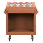 Cambro TDCR12157 Coffee Beige Tray and Dish Cart with Cutlery Rack and Protective Vinyl Cover