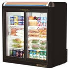 True GDM-9-LD Black Countertop Two Section Display Refrigerator with Sliding Doors - 9 cu. ft.