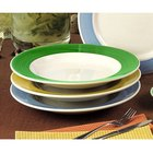 CAC R-125GRE Rainbow Pasta Bowl 30 oz. - Green - 12/Case
