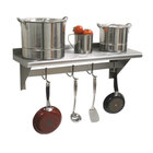 Advance Tabco PS-12-36 Stainless Steel Wall Shelf with Pot Rack - 12