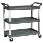 Rubbermaid FG409100GRAY 300 lb. X-Tra Three Shelf Utility Cart / Bus Cart 40