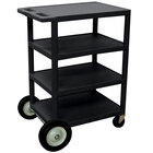 Luxor / H. Wilson BCB45 Black 4 Shelf Serving Cart with Rear Big Wheels - 18