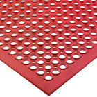 San Jamar KM1200 EZ-Mat 3' x 5' Red Grease-Resistant Floor Mat with Beveled Edge - 1/2
