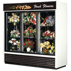 True GDM-69FC-LD White Three Glass Sliding Door Floral Case - 69 Cu. Ft.