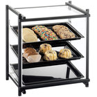 Cal-Mil 1145-13 One by One Three Tier Black Display Case with Rear Door - 20 1/2