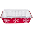 Durable Packaging 9201X 2 1/4 lb. Rectangular Holiday Foil Bake Pan with Clear Dome Lid - 100/Case