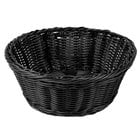 Tablecraft M2475 Black Round Rattan Basket 8 1/4