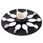 CAC PTP-21-BLK Bright White Party Collection Porcelain 10 Spoon Set with 12 1/4