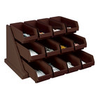 Cambro 12RS12131 Versa Dark Brown Self Serve 3-Tier Condiment Stand with 12