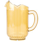 Choice 60 oz. Amber SAN Plastic Beverage Pitcher with 3 Spouts
