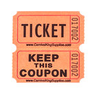 Carnival King Orange 2-Part Raffle Tickets - 2000 / Roll