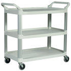 Rubbermaid FG409100OWHT Off-White Three Shelf Utility Cart / Bus Cart 40