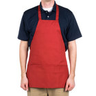 Choice Red Full Length Bib Apron with Pockets - 25