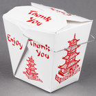 Fold-Pak 16WHPAGODM 16 oz. Pagoda Chinese / Asian Paper Take-Out Container with Wire Handle - 100 / Pack