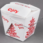 Fold-Pak 08WHPAGODM 8 oz. Pagoda Chinese / Asian Paper Take-Out Container with Wire Handle - 100 / Pack