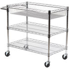 Luxor / H. Wilson LICWT2918 Three Shelf Wire Mail Cart Adjustable - 18