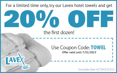 20% off a dozen hotel towels