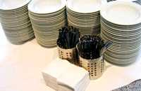 A stack of buffet plates