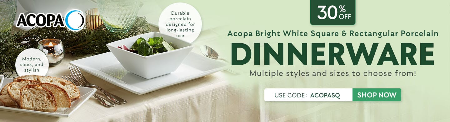 Acopa Bright White Square & Rectangular Porcelain Dinnerware